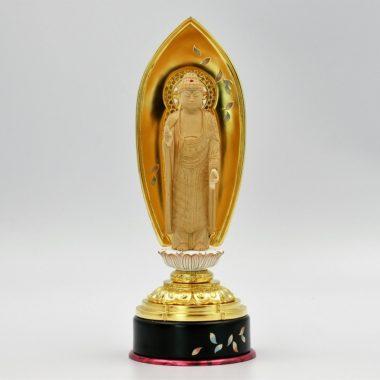 仏像 浄土宗 融通念仏宗 阿弥陀如来4寸 白木製 本金箔 丸台座 金泥書