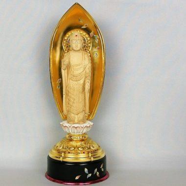 仏像 浄土宗 融通念仏宗 阿弥陀如来4寸 丸台座 金泥書
