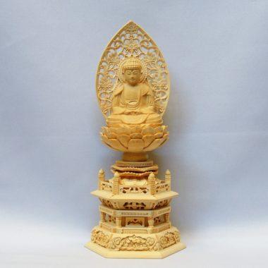 仏像 曹洞宗 座釈迦1.8寸 白木製 六角台座