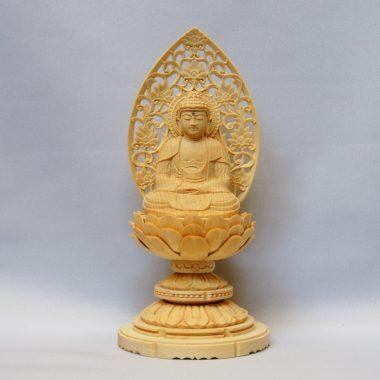 仏像 曹洞宗 座釈迦1.5寸 白木製  丸台座