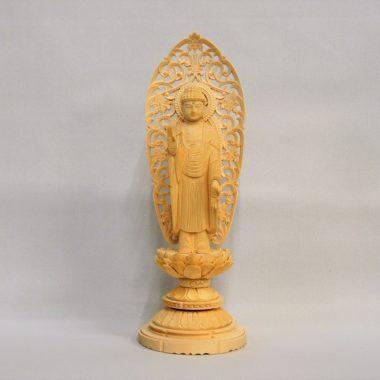 仏像 浄土宗 融通念仏宗 阿弥陀如来3寸  白木製