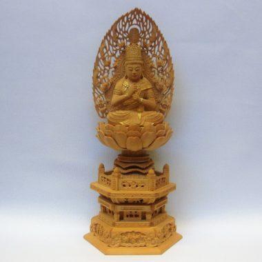 仏像 真言宗 大日如来2寸 柘植製 飛天光背 金泥書