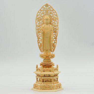 仏像 浄土宗 融通念仏宗 阿弥陀如来3寸  白木製六角台座