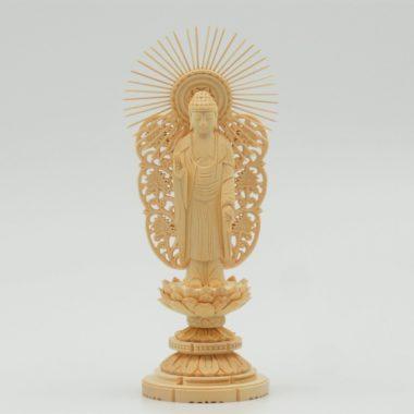 仏像  西本願寺(浄土真宗本願寺派)  阿弥陀如来3寸  桧製丸台座