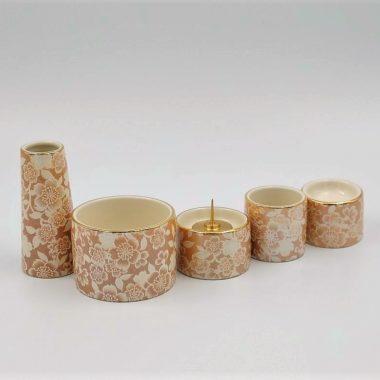 美濃焼仏具 ゆい花 シャンパンゴールド 丸香炉