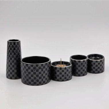 美濃焼仏具 ゆい花 市松ブラック 丸香炉